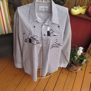 Las Olas Size Large Lighthouse Theme Blouse
